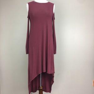 BCBG XS L/S Cold Shoulder Hi/Lo Maxi Dress